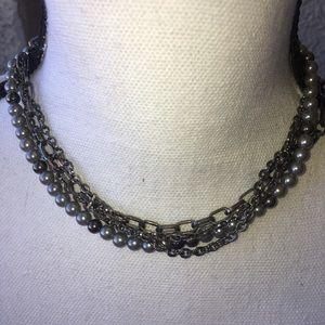Grey Silver Pearls w/3 Grey Chains